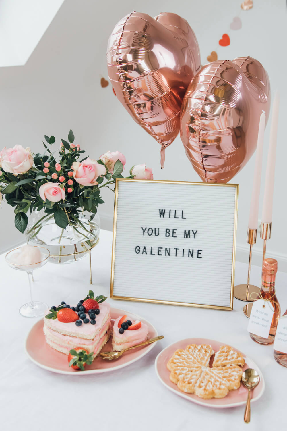 Galentines Day, Valentinstag, Brautparty, Naked Cake, Letterboard
