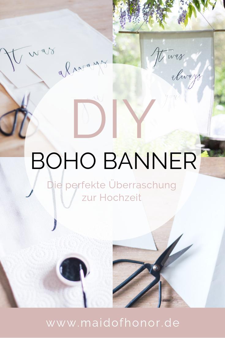 Überraschung zur Hochzeit - DIY Boho Banner für das Brautpaar